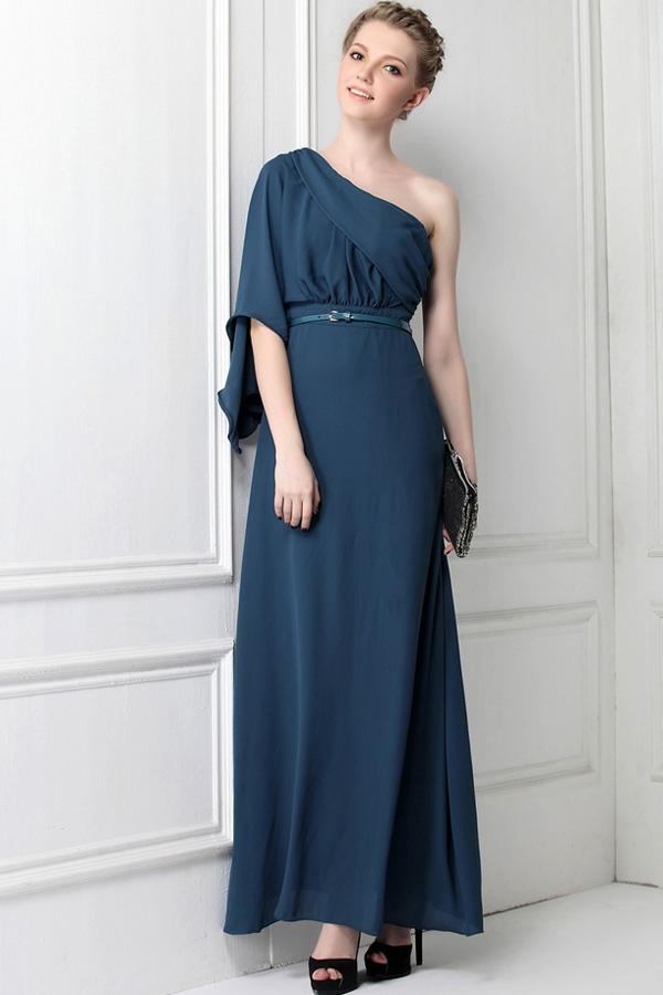 Model Baju Pesta dengan Dress Bahan Chiffon Satu Tali