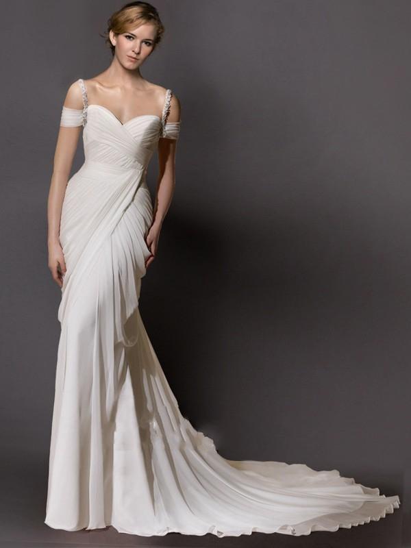 Model Baju Pesta menggunakan Dress Chiffon Bahu Terbuka