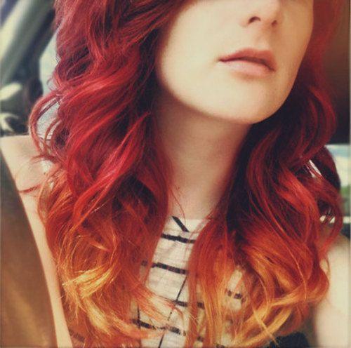 Model Rambut Fire Ombre Warna Merah Menyala