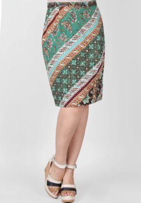 Model Rok Span Batik Pendek Hijau Muda