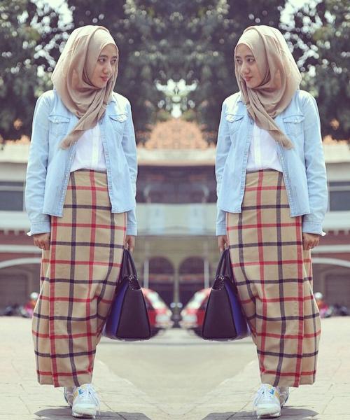 Model Rok Span Panjang Muslimah Bercorak