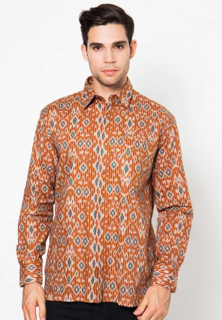 Model Baju Batik Muslim Pria Lengan Panjang Motif Modern