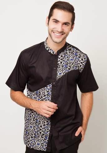 Model Baju Batik Muslim Pria Lengan Pendek Modern