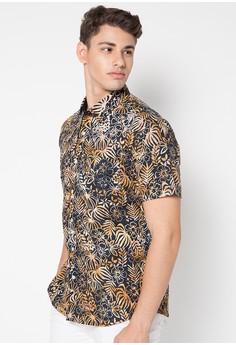 Model Baju Batik Muslim Pria Lengan Pendek Motif Bunga
