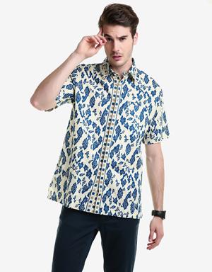 Model Baju Batik Muslim Pria Lengan Pendek Motif Cerah