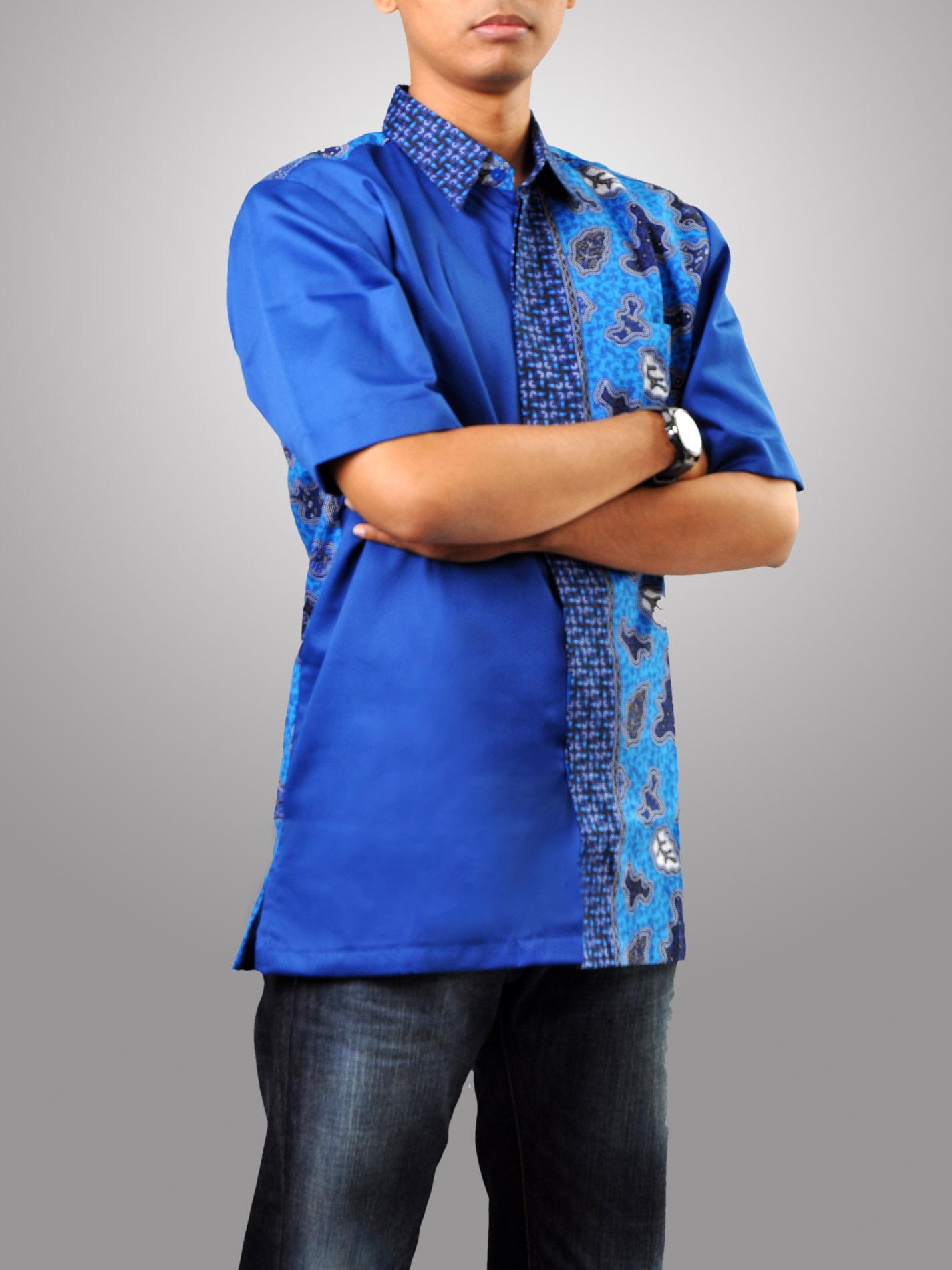Model Baju Batik Muslim Pria Lengan Pendek Warna Biru