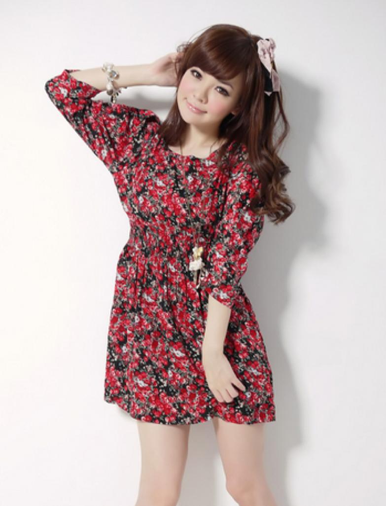 Model baju motif bunga ala Korea
